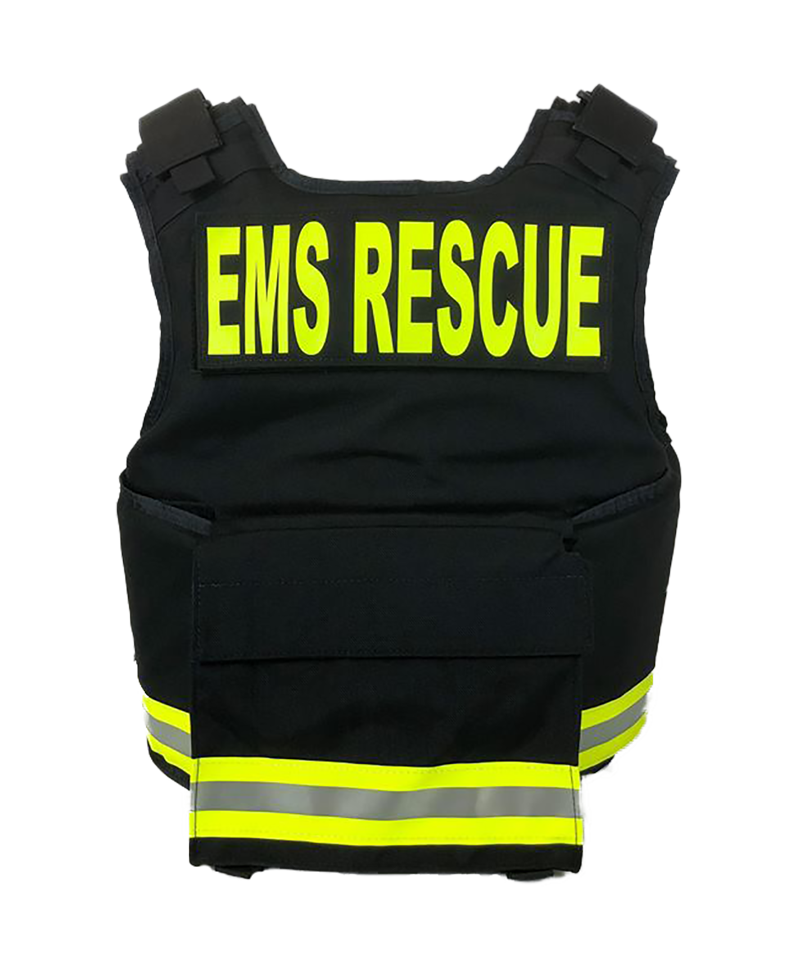 Black with 3M Reflective Lime Yellow Trim F1 One Size Fits All firefighter Body Armor