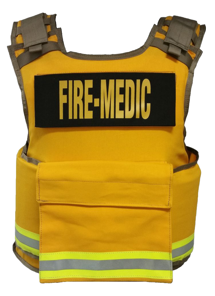 1 size Fire Department body armor : Yellow w/ 3M lime yellow triple trim and fire medic ID Panels
